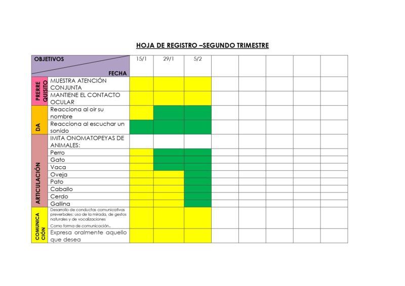 Registro de Objetivos - Audición y Lenguaje